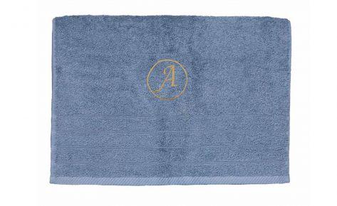 Πετσέτα γκρι με κεντημένο μονόγραμμα